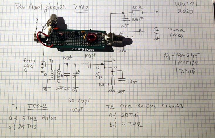 7MHz BF245 Ön Yükselteç (Pre-Amplifikatör)